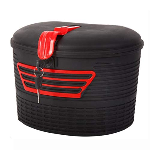 Kathleen0 Storage Basket Large apacity sy Install Universal Anti Theft Front Hanging Insulation Waterproof Parts Electric Bicycle Mountain Bike with Lock Strong Load Lightweight(Black+Red)
