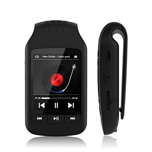 HOTT A505 8 GB + 32 GB Bluetooth Reproductor MP3 con clip para deporte, reproductor de música de 1.8 pulgadas sin pérdida de sonido, grabadora de radio FM, cronómetro, compatible con tarjeta TF de hasta 128 GB