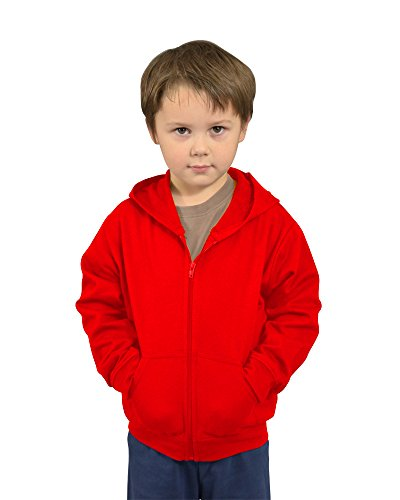 Monag Toddler Red Fleece Jacket with Hoodie and Zip 2Y Red
