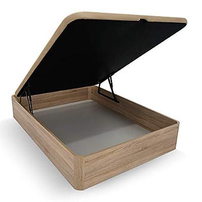 Canapé abatible de madera, con cajón reforzado de grosor 30mm, con gran capacidad y tapa reforzada con 4 valvulas de ventilación y hueco para facilitar la apertura Práctico, robusco y funcional. Con 29 cm de capacidad interior y 36 cm de altura total...