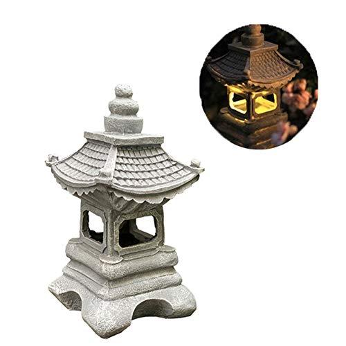 Uziqueif Lanterne d'ornement de Jardin de Lanterne de pagode Japonaise extérieure à LED, Lanterne de pagode Solaire, Lampe de Jardin Solaire de Lanterne de Style Japonais lumière de pagode,Gris