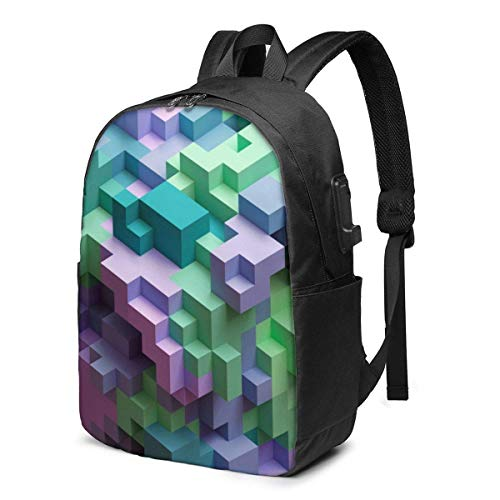 3D Render, Abstract Geometric Laptop Backpack Men Women USB Port Backpack Anti-Theft Water Resistant Travel Laptop Bag 17 Inch