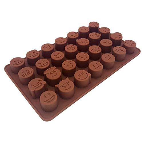 Cakevorm van siliconen, anti-aanbaklaag, 28 gaten, in de vorm van emoji, fondant, productie van chocolade, vorm voor het koken van ingrediënten, willekeurige kleur