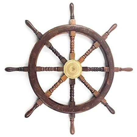 """24/"""" Wooden Ship Wheel Maritime Captain Pirate Decor Ships Boat Steering Wood"""