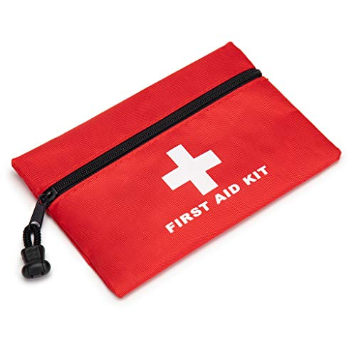 Red First Aid Bag Empty, Jipemtra First Aid Backpack Empty First Aid Pouch Small Mini Waterproof for First Aid Kits Pack Emergency Hiking Backpacking Camping Travel Car Cycling (Red 7.9x5.5inch)