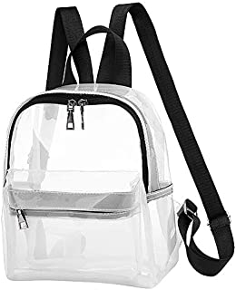 SODIAL Fashion Clear Transparent PVC See Through Backpack Cute School Book Bag Black