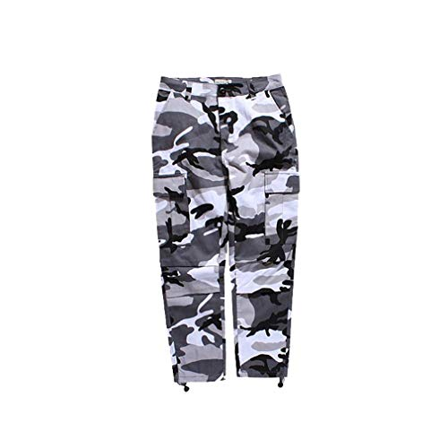 Mxssi Color Camo BDU Camouflage Cargo Pants Uomo Donna Casual Streetwear Tasche Jogger Arancione Tattico Pantaloni Sportivi Hip Hop Pantaloni Grigio S