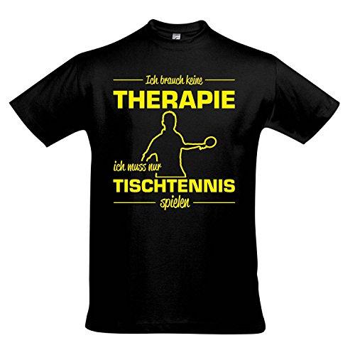 T-Shirt - Therapie - Tischtennis - Sport Fun Kult Shirts S-XXL, Deep Black - gelb, XXL