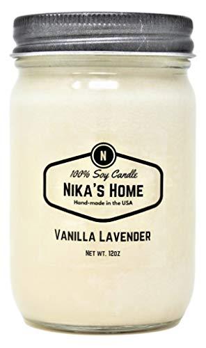Nika's Home Vanilla Lavender 12oz Mason Soy Candle