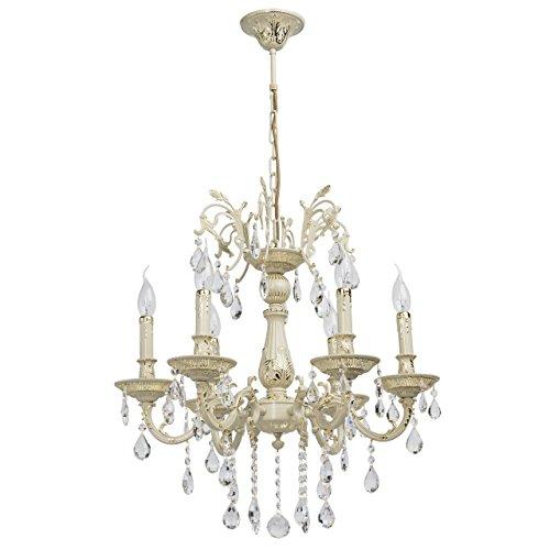 MW-Light 301014406 Antiker Kronleuchter Cremefarbiges Metall Kerzen Kristalltropfen Klar Flur 6 Armig x 60W E14