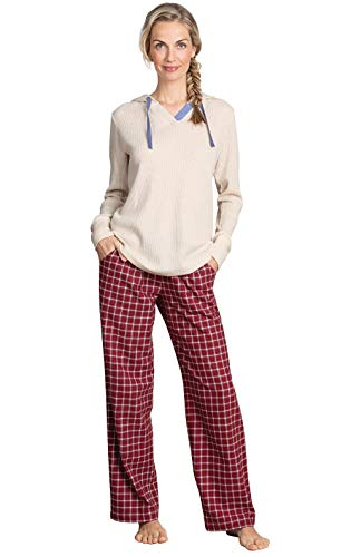 PajamaGram Womens Christmas Pajamas Plaid - Pajamas for Women, Red, L, 12-14