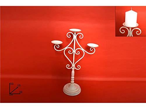 DUE ESSE CHRISTMAS S.r.l. Candeliere Ferro antichizzato Beige 3 posti 59 cm