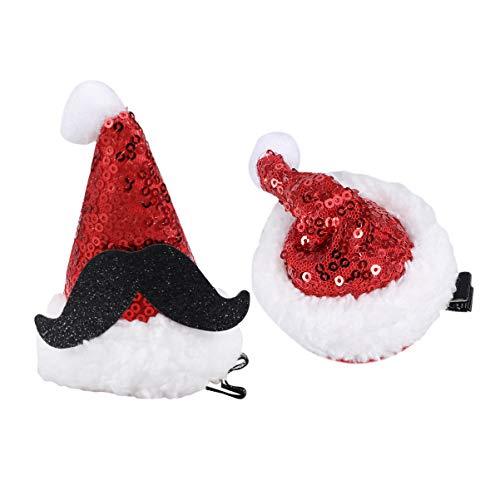 Amosfun 2 stks Kerst Hoed Haar Clips Glitter Bobby Pin Pin Pin Mini Riem Hoed Haarspelden Haarspeldjes Accessoires Voor Kinderen Volwassen Kerstmis Verjaardag Kostuum Cosplay 9 x 6 x 6cm Moustache hat