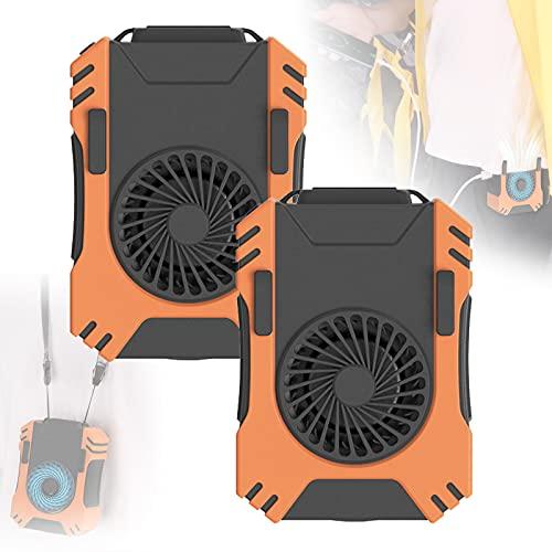 EnweMahi Ventilador Cintura Manos Libres, Mini Ventilador CinturóN Ajuste DireccióN Viento DisipacióN Calor RáPida, Mini Ventilador Cuello DiseñO Prueba Sudor ProteccióN Silicona,B