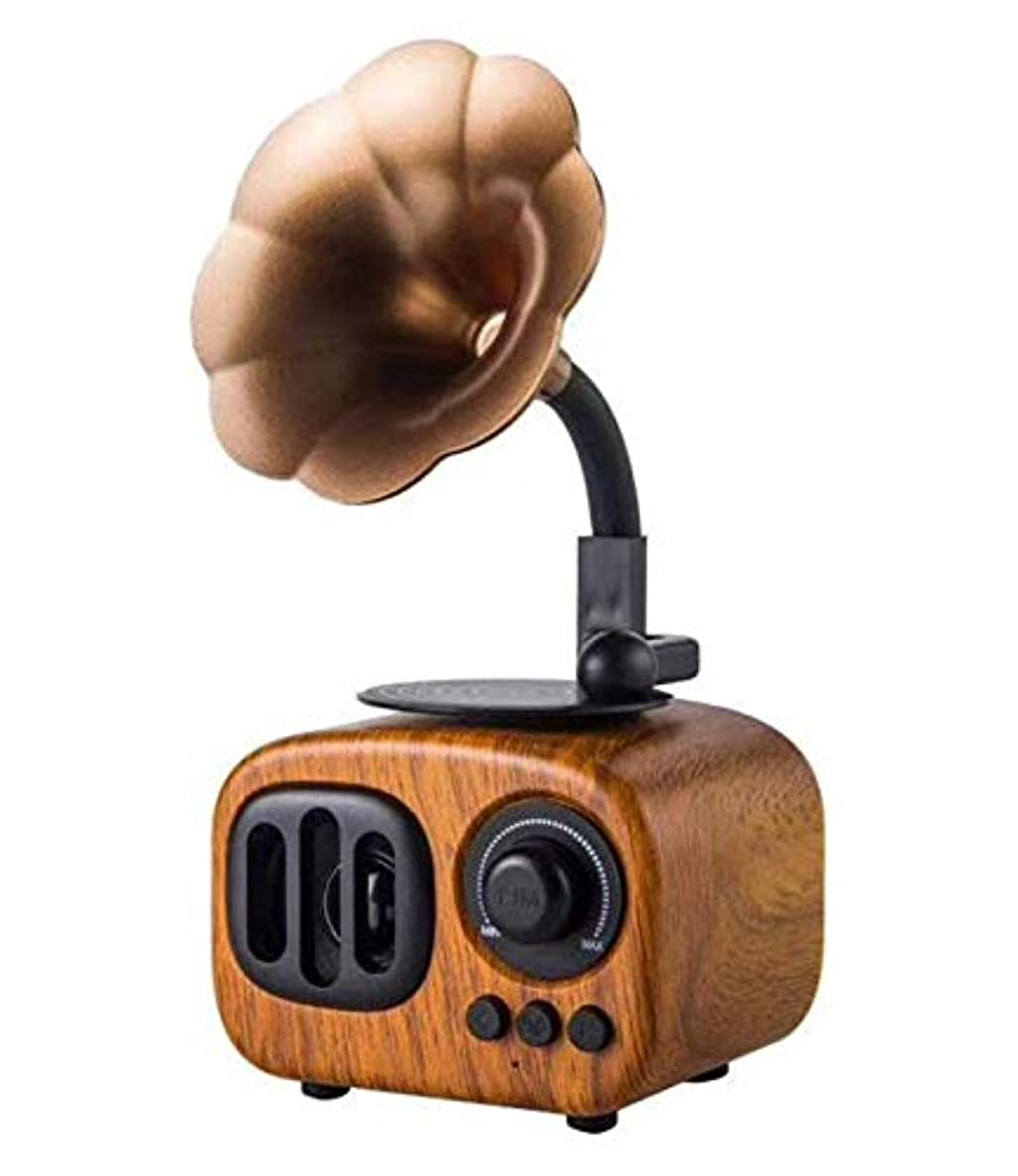 WALTSOM Retro Wooden Wireless Speaker, Portable Stereo Speaker with HD Audio and Enhanced Bass, Built-in Rechargeable Battery, Bluetooth 4.0, Handsfree Calling, TF Card Slot for Home Office