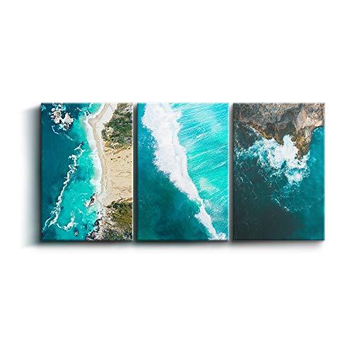 Cuadros de Costa Hermosa, Pack 3 de 40 x 60 cm, Decoración Moderna para Salón y Dormitorio, Lienzo de Poliéster y Bastidor de Madera, Color Turquesa, LEN-006