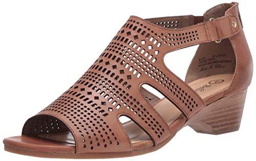 Bella Vita Women's Fashion Casual Heeled Sandal, Saddle Burnish Leather, 11 Narrow