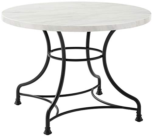Crosley Furniture Madeleine 40' Round Dining Table, Steel with Faux Marble Top