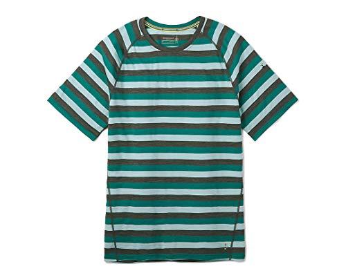 Smartwool Men's Merino 150 Baselayer Short Sleeve Shirt, Pacific Stripe - Large