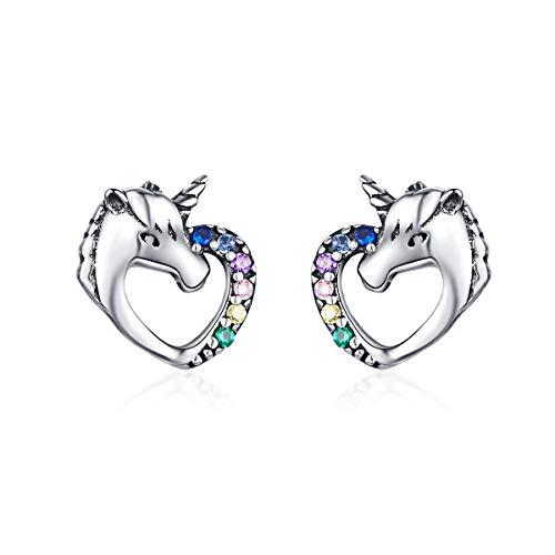 BAMOER Unicorn Rainbow Heart Earrings 925 Sterling Silver for Women Girls Unicorn Stud Earrings Gift for Girls Women