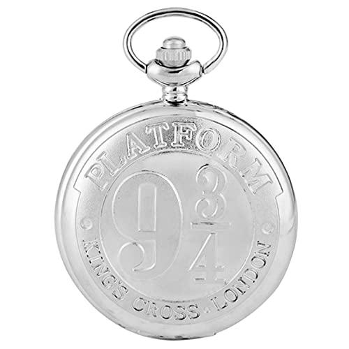 JTWMY Plataforma Retro 9 3/4 King'S Cross London Reloj de Bolsillo de Cuarzo Collar de Bronce Colgante Reloj Antiguo Regalos-Plata