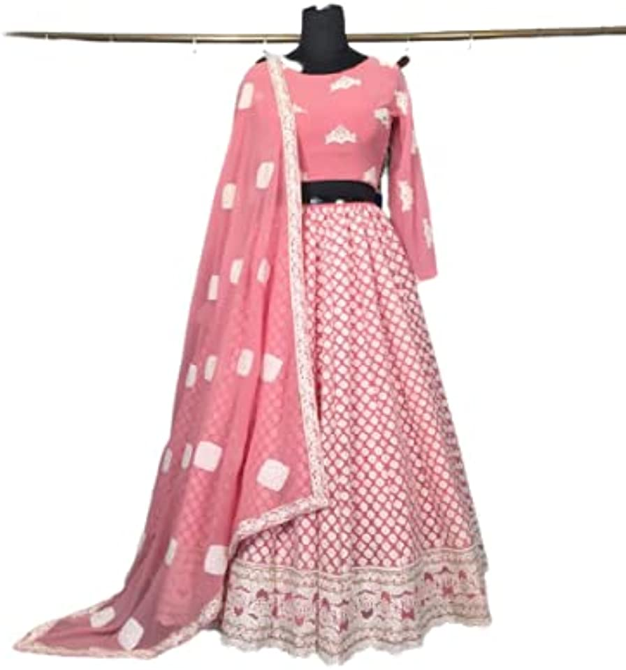 Faux Georgette Lucknowi Embroidered Lehenga Choli Party Wear Lehenga Choli Indian Lehenga Choli Designer Lehenga Choli Bollywood lahanga choli