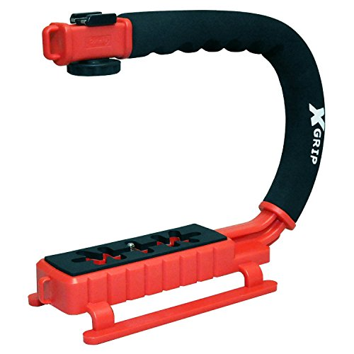 Opteka X-Grip Professional Camera/Camcorder Action Stabilizing Handle with Accessory Shoe for Flash, Mic, or Video Light (Red)