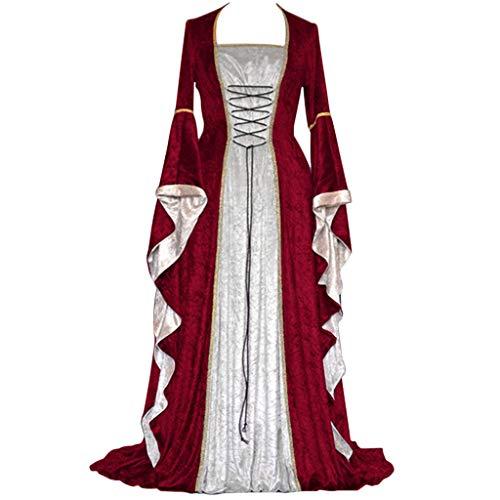 Wolfleague Femme Medievale Victorien Renaissance Vintage Col Carre Manches Flares Adulte Costume Gothique Reine Robe Costume Medieval Femmes Collier Carre Paquet Taille Renaissance Robe Retro