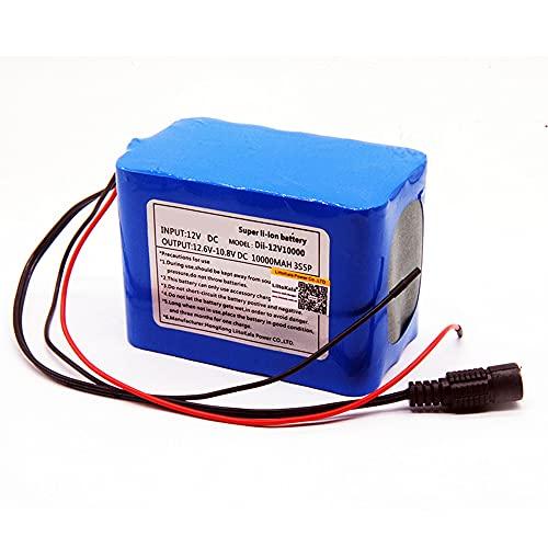 Tyssfzd Batería De Iones De Litio,12V 10Ah, Ideal para Alarmas Hogar, Juguetes Eléctricos, Cercads, Herramientas De Emergencia Batería De Audio Luz LED De 12V con Barra Luminosa