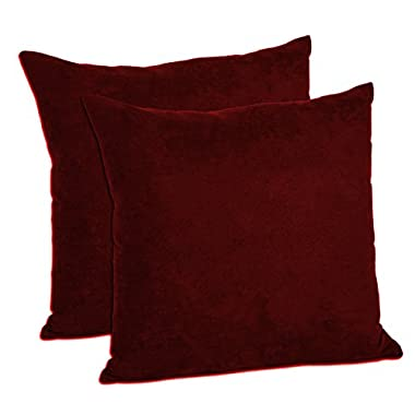 MoonRest - Pack of 2- Micro-Suede Decorative Throw Pillow Case - Faux Suede Cushion Cover (20 x20 , Burgundy)