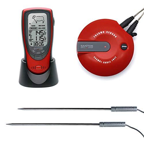 SANTOS BBQ-Thermometer, digitales Funkthermometer zur Garzeitkontrolle, Drahtlos