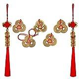 PPX 2 Piezas chino Feng Shui monedas rojo Endless nudo y 5 Piezas Chino Feng Shui Monedas Nudo Rojo Colgantes para el éxito de Riqueza Coche decoración para el hogar