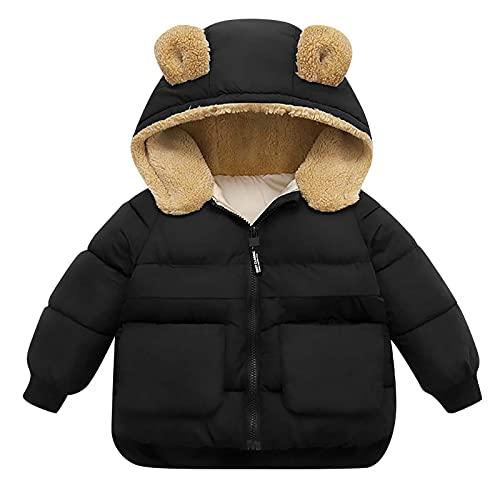Chaqueta con capucha para bebé y niña, abrigos cálidos, para exteriores, con capucha, resistente al viento, con cremallera, para otoño y invierno (1 a 6 años), Negro, 4-5 años