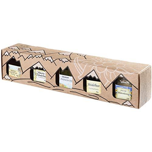 Allgäuer Genuss-Box | Honig und Marmeladen Geschenkbox mit 5x 50g Feinschmecker-Brotaufstrich
