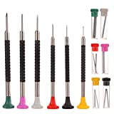 Juego de Destornilladores de Precisión de Metal Qkiss 6 Piezas Multifuncional Kit de Herramientas de Reemplazo de Reparación de Relojes de Joyería