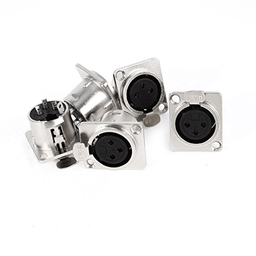 sourcing map Metal per Audio XLR 3 Pin Female Chassis Panel Mount Socket Connector 5 Pcs Silver Tone