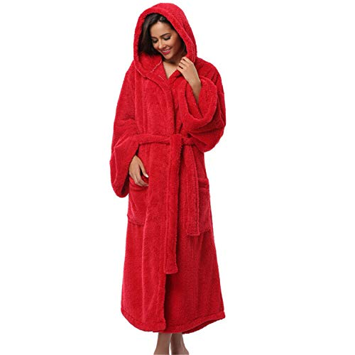 RENJIA IHGWE - Albornoz de franela con capucha para mujer, corto o largo, de lana Sherpa, forro polar, para hombre, con capucha rojo S