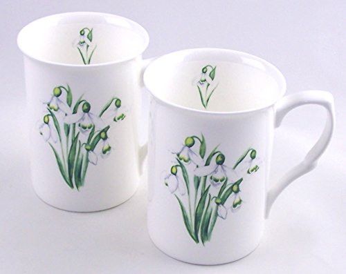 Fine English Bone China Mugs - Set of Two - Snowdrop Chintz - England