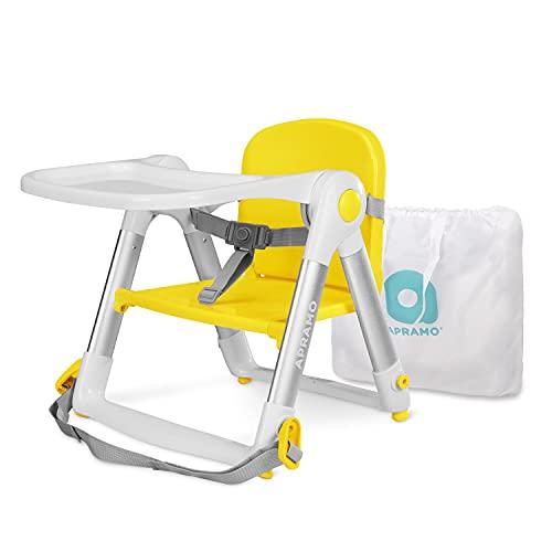APRAMO FLIPPA Elevador de Siento de Silla Portátil Trona Alzador Plegable de Silla para Bebé Comer Alimentar con Bandeja Extraíble (Limón)
