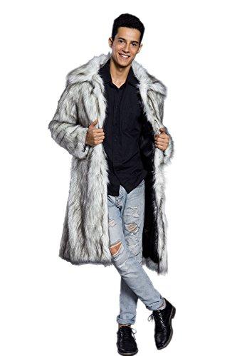 Amore Bridal Mens Faux Fur Coat Long Black Jacket Warm Furry Overcoat Outwear Light Grey M