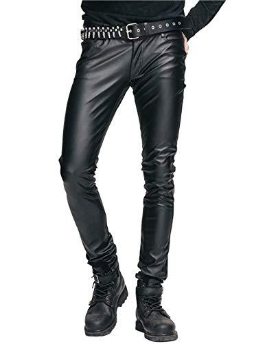 Pantalones elásticos para hombre Steampunk de piel sintética ajustados pantalones negros góticos pitillo con cremallera pantalones de gran tamaño