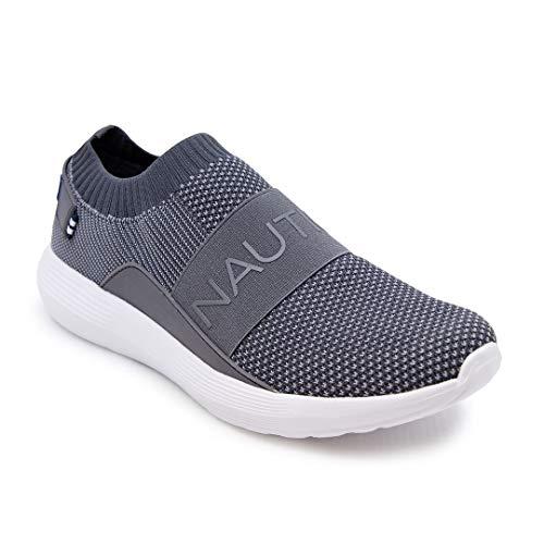 Nautica Men's Casual Fashion Sneakers-Walking Shoes-Lightweight Joggers-Crawford-Charoal/Grey-9.5