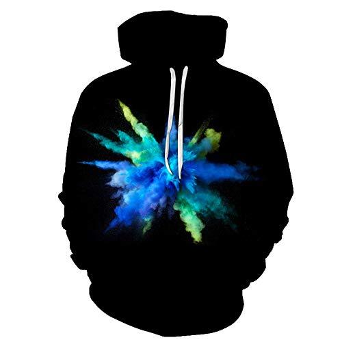 Felpa con Cappuccio Nuvola di Fumo Blu-Verde esplosiva Felpa Unisex Hip-Hop Coppia Stampa Digitale 3D Adatta per Sport casa all'aperto Morbida, Confortevole e Traspirante-Color_3XL