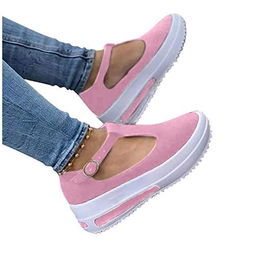 Mocasines De Cabeza Redonda Retro De Primavera para Mujer, Nuevos Zapatos De Aumento De Altura con Suela Gruesa Y Hebilla, Sandalias Informales De Tacón De Cuña Simple (Color : Pink, Size : 7)