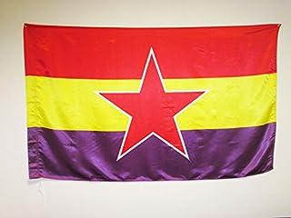 AZ FLAG Bandera ESPAÑA Republicana Estrella del EJÉRCITO Popular 150x90cm en Raso para Palo - Bandera DE LA Republica ESPA...