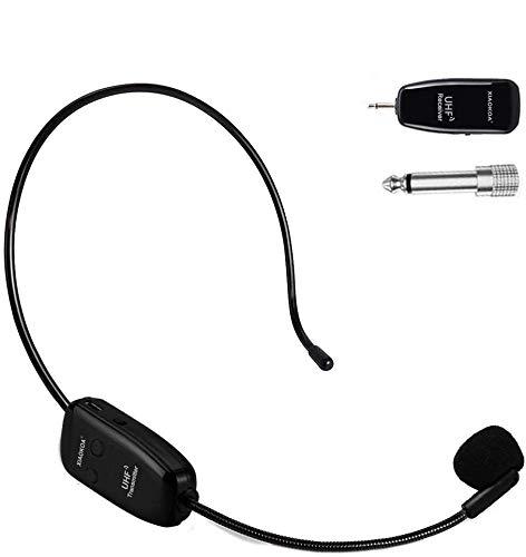 XIAOKOA UHF ワイヤレス マイク ヘッドセット マイク ロフォン ステージ ポータブル拡声器 高音質 軽量 拡声器に対応 【日本語説明書付き】