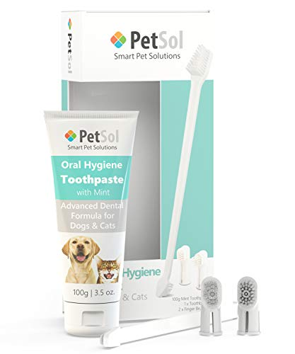PetSol Dental Care Kit For Dogs – Pet Oral Hygiene – Toothpaste For Dogs With Minty Flavor – Pet Supplies – Healthy Teeth And Gums – Mint Dental Toothpaste For Dogs – Teeth Cleaning Products