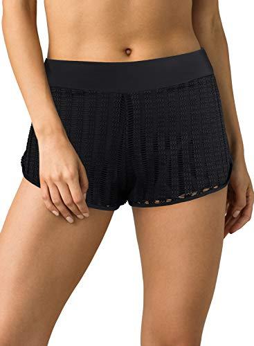 REKITA Women's Lace Swim Shorts Strappy Bikini Bottoms (Black, Large)