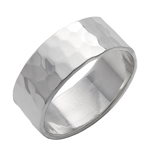 Silverly Herren Damen .925 Sterling Silber gehämmert Oberfläche poliert Flat Top Band 8mm Ring