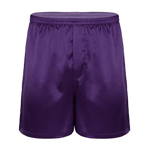 Freebily Herren Boxershorts Locker Shorts Retroshorts Glanz Satin Boxer Briefs Trunks Pants Kurz Hose Schlafanzughose Unterhose Unterwäsche Lila lang Large